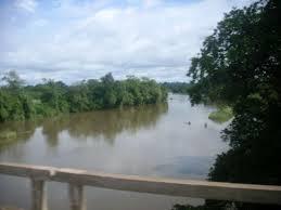 Le fleuve du moyen Comoé sur le pont entre Abengourou et Abidjan en Côte d'Ivoire. Photo Google